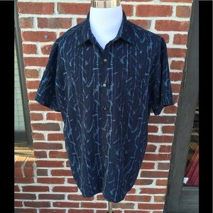VAN HEUSEN BLUE PRINT CASUAL BUTTON DOWN SHIRT EUC